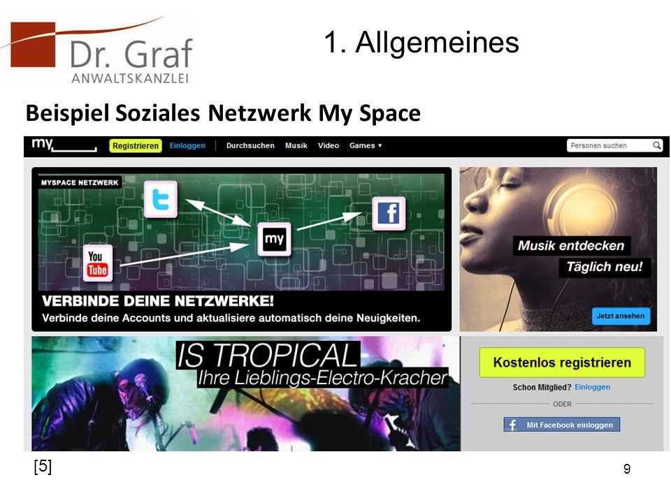 1. Allgemeines Beispiel Soziales Netzwerk My Space [5]
